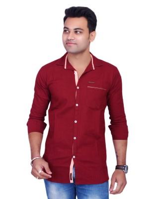La Milano Men's Solid Casual Maroon Shirt