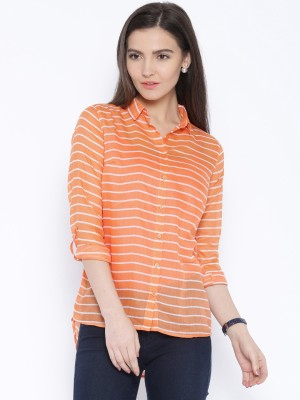 Silly People Women's Striped Casual Orange Shirt