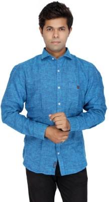 JG FORCEMAN Men's Solid Casual Blue Shirt