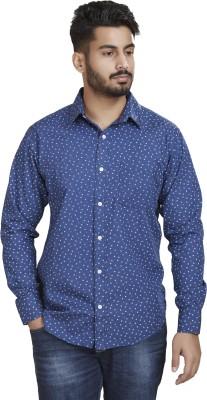 Defossile Men's Printed Casual Blue Shirt