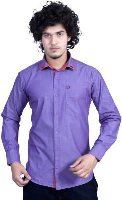 Bucci Men's Solid Casual Purple Shirt