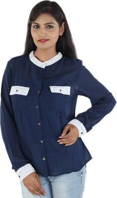Aimeon Women's Solid Casual Blue, White Shirt