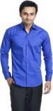 Vango Play Men's Solid Casual Blue Shirt