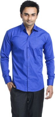 Vango Play Men's Solid Casual Blue Shirt