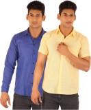 Ojjo Men's Solid Formal Yellow, Blue Shi...