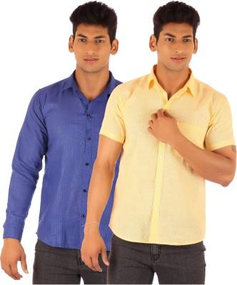 Ojjo Men's Solid Formal Yellow, Blue Shirt