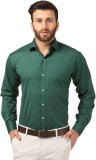Mesh Men's Solid Formal Green Shirt