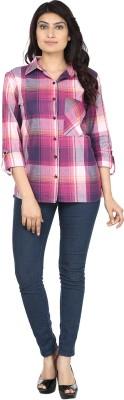 Stylerz Women's Checkered Casual Pink, Purple Shirt