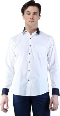 Magnoguy Men's Self Design Casual White, Blue Shirt
