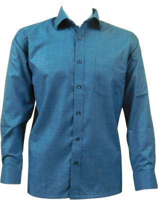 Ardeur Men's Solid, Self Design Formal Dark Blue Shirt