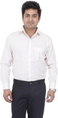 Aces Blue Men's Self Design Formal Beige Shirt