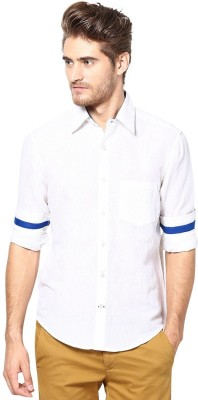 The Vanca Men's Solid Casual Linen White Shirt