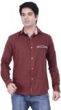 HOH Men's Solid Casual Brown Shirt
