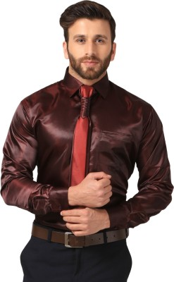 Mesh Men's Solid Casual Maroon Shirt