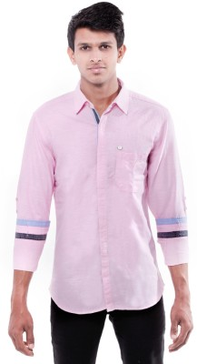 Enovate Men's Solid Casual Pink Shirt