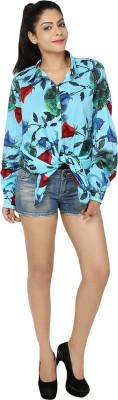 Chic Fashion Women's Floral Print Formal Blue, Red Shirt