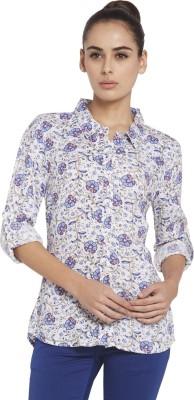 Globus Women's Floral Print Casual White Shirt