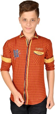 Anry Boy,s Checkered Casual Maroon Shirt