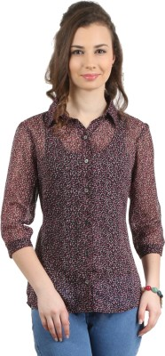 Amadeo Women's Floral Print Casual Black Shirt