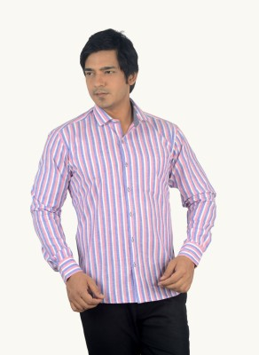 Radbone Men,s Striped Formal Linen Pink, Blue Shirt
