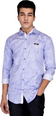 Jhon Poul Men's Solid Casual Blue Shirt