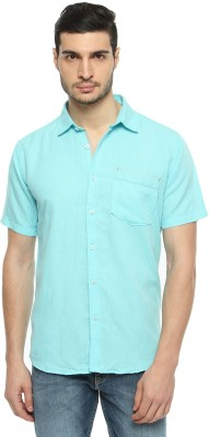 FERROUS Men's Solid Casual Green Shirt