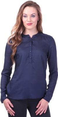 Street 9 Women's Solid Casual Dark Blue Shirt