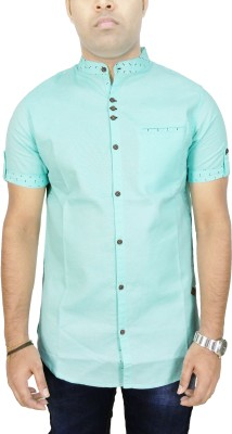 Kuons Avenue Men's Solid, Printed Wedding, Casual, Party, Festive, Lounge Wear Green, Dark Green Shirt