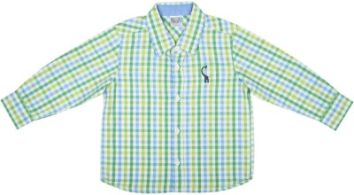 Wow Mom Baby Boy's Embroidered Casual Light Green Shirt