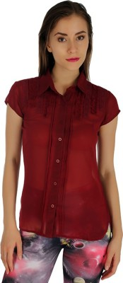 Holidae Women's Solid Casual Maroon Shirt