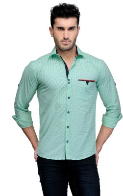 Finder Zone Men's Printed Casual Light Green Shirt