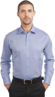 Leo Men's Solid Formal Blue Shirt