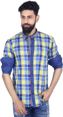MOZAC Men,s Checkered Casual Blue Shirt