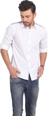Exitplay Men's Solid Casual Blue, White Shirt