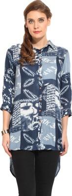 Rena Love Women's Printed Casual Blue Shirt