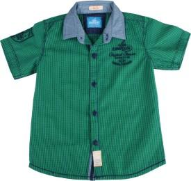 Einstein Boys Checkered Formal Green Shirt