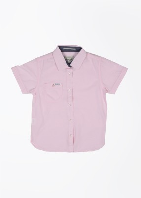 Pepe Jeans Boy's Solid Casual Pink Shirt
