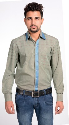 Riwas Collection Men's Printed Casual Light Green, Grey Shirt