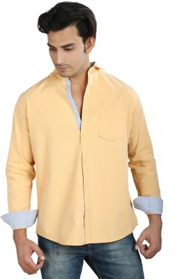 Faceman Men's Solid Casual Orange Shirt