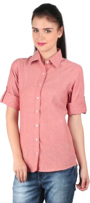 Mahikrite Women's Solid Formal Red Shirt
