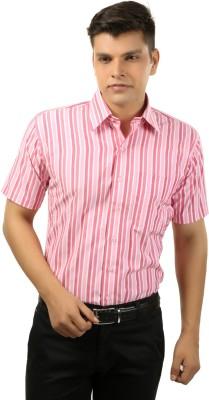 koutons outlaw Men's Striped Formal Pink Shirt