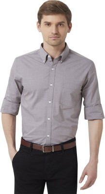 Peter England Men's Solid Casual Grey Shirt