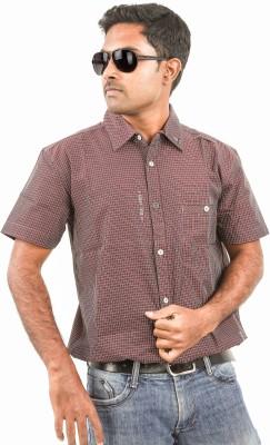 Argyle Men's Checkered Casual Maroon Shirt