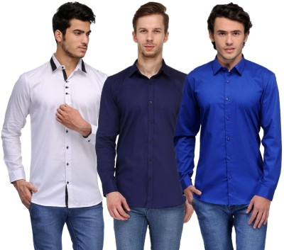 Feed Up Men's Solid Casual White, Dark Blue, Blue Shirt