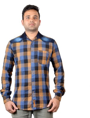 KEF Men's Checkered Casual Beige, Black, Blue Shirt