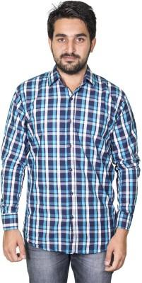 Mangue Men's Checkered Casual Blue Shirt
