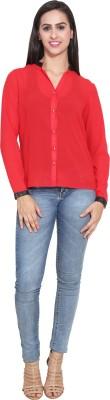FATEN Women's Solid Casual Red Shirt