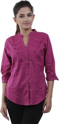 M&F Women's Solid Casual Purple Shirt