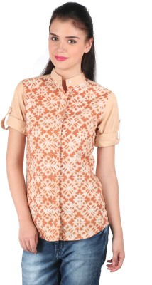 Mahikrite Women's Printed Casual Orange Shirt