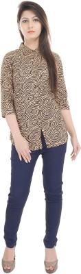 e-wa Women's Printed Casual Brown Shirt